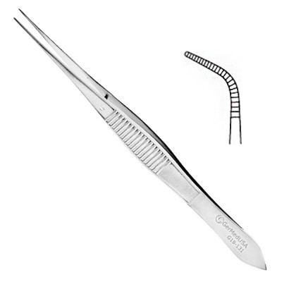 Eye Dressing Forceps 4 inch Full Curved Serrated Tips