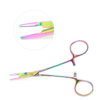 Olsen Hegar Combined Needle Holder and Scissors, 6 1/2 inch, Serrated, Tungsten Carbide Rainbow Coated